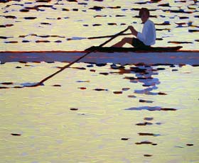 ROWING IN THE SUNSET - click to view larger image...